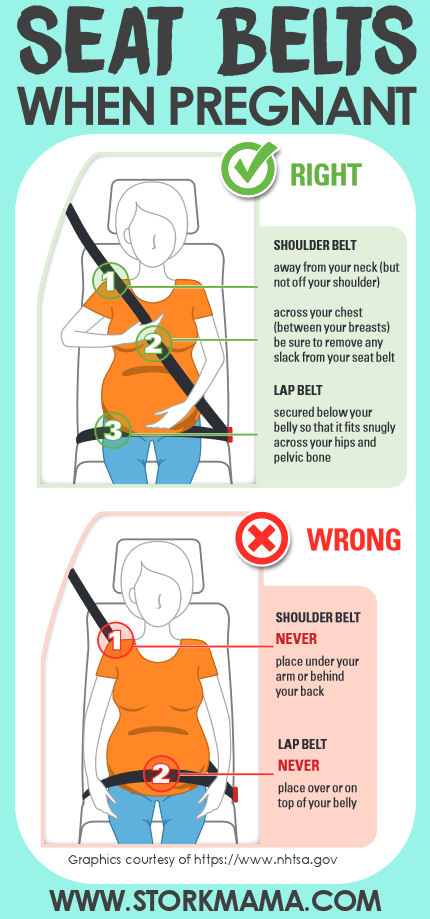 Safe Seat belt use when Pregnant   Learn how to wear a car set belt properly to prevent hurting your baby or causing pregnancy complications. Stork Mama